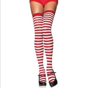 Spirit Costume red and white stripped thigh fit